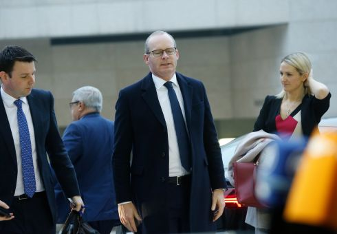 Tánaiste and Minister for Foreign Affairs and Trade Simon Coveney (C) arrives for the General Affairs Council on article 50 in Luxembourg, a preparation session for the European Council meeting due to be held on Wednesday.  Photograph: Julien Warnand/EPA
