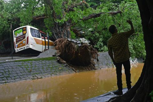 A man takes a photo near a bus smashed by a falling tree in Rio de Janeiro, Brazil. Flash floods caused by torrential rain killed at least three people in the Brazilian capital. Photograph: Carl De Souza/AFP/Getty Images