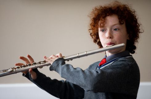 Leo Allen (11) from Dublin before competing in the junior flute competition. Photograph: Tom Honan