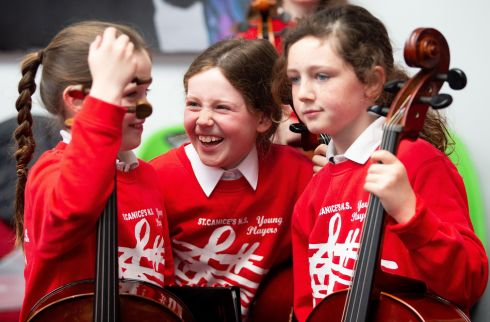 Isabel Walsh, Niamh Cotter and Lauren McCarthy from St Canice's National School in Kilkenny. Photograph: Tom Honan