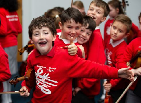 Daniel Cuddihy (8), Shay Molloy (8) and fellow students from St Canice's National School Kilkenny. Photograph: Tom Honan