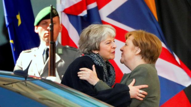 British prime minister Theresa May and German chancellor Angela Merkel say goodbye after they met to discuss Brexit in Berlin on April 9th. Photograph: Hannibal Hanschke/Reuters