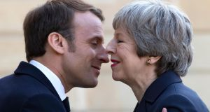 "French president Emmanuel Macron and British prime minister Theresa May in Paris: ratification of the withdrawal accord would be France's ""preferred scenario"". Photograph: Ian Langsdon"