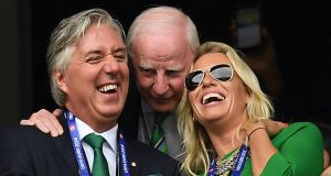 John Delaney with  Pat Hickey, former president of the Olympic Council of Ireland, and Emma English in 2016. Photograph:  Stephen McCarthy/Sportsfile via Getty Images