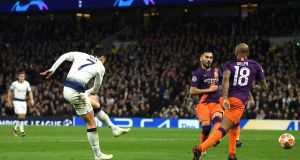 Son Heung-Min  of Tottenham Hotspur scores his team's first goal during the  Champions League quarter-final first leg against Manchester City at Tottenham Hotspur Stadium. Photograph: Mike Hewitt/Getty Images