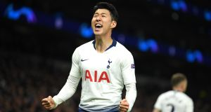 Son Heung-Min  of Tottenham Hotspur celebrates after scoring his team's  during the Champions League quarter-final first leg  against Manchester City at Tottenham Hotspur Stadium. Photograph: Mike Hewitt/Getty Images