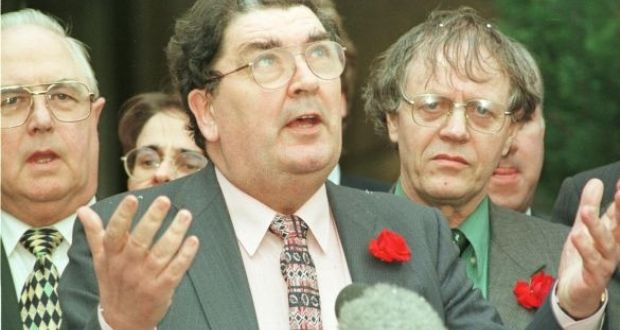 John Hume at the announcement of the Belfast Agreement in 1998, a deal he roughly outlined to British officials eight years earlier. Photograph: Alan Betson