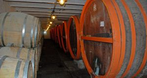 Lambic brewing: large barrels, or foudres, at Timmermans in Belgium. Photograph: Dirk Van Esbroeck