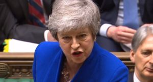 British prime minister Theresa May during Prime Minister's Questions in the House of Commons in Westminster. Image: EPA/UK parliamentary recording unit