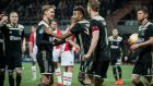 Donny van de Beek, Frenkie de Jong, David Neres, Matthijs de Ligt  and Klaas Jan Huntelaar celebrate a goal against FC Emmen. Photograph: EPA