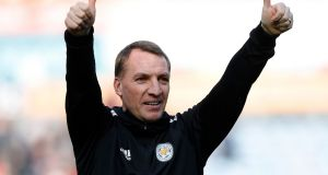 Leicester City manager Brendan Rodgers celebrates his team's win against Huddersfield. Photograph: PA