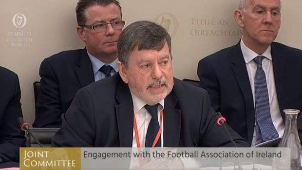 FAI president Donal Conway giving evidence at the Joint Committee on Transport, Tourism and Sport. Photograph: PA