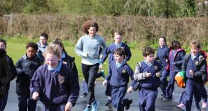 Sonia O'Sullivan taking part in The Daily Mile with children from Milford National School in Castletroy, Co Limerick.