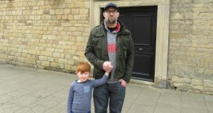 Mark Croft and his son Lucas in Bolsover. Photograph: Jennifer O'Connell
