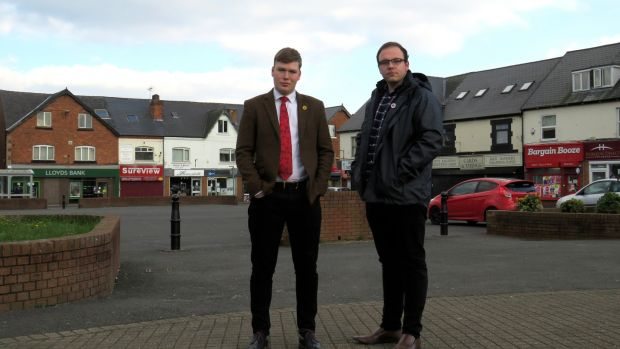 Labour's Cameron Mitchell and Ashley Taylor in Shirebrook. Photograph: Jennifer O'Connell