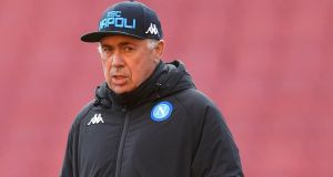 Carlo Ancelotti: Napoli's head coach is looking forward to takning on Arsenal again.  Photograph: Neil Hall/EPA