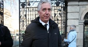 Former FAI chief executive John Delaney leaving Leinster House after appearing at the Oireachtas Sports Committee. Photograph: Laura Hutton