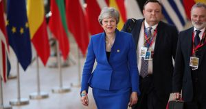 UK prime minister Theresa May arrives for an EU summit in Brussels. Photograph: Francisco Seco/AP