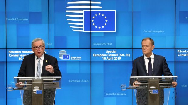 European Commission president Jean-Claude Juncker and European Council president Donald Tusk hold a news conference after the EU leaders summit to discuss Brexit in Brussels. REUTERS/Yves Herman