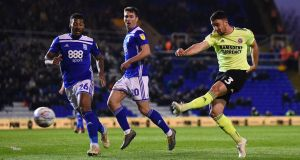 Enda Stevens of Sheffield United scores at St Andrew's. Photograph: Nathan Stirk/Getty Images