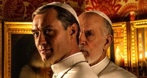 The New Pope: Jude Law and John Malkovich in the HBO series. Photograph: Gianni Fiorito