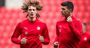 Slavia Prague players Alex Kral and Ondrej Kudela ahead of their clash against Chelsea on Thursday night. Photograph: EPA