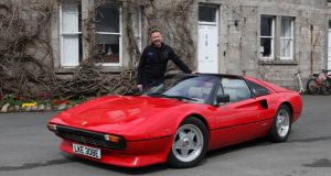 Electrifi's Norman Crowley with the Ferrari 308, now converted to electric power and capable of 0-100km/h in two  seconds.