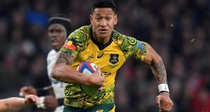 Australia's Israel Folau is set to have his contract terminated. Photograph: