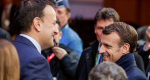 Taoiseach Minister Leo Varadkar  and French President Emmanuel Macron leave after a special EU summit on Brexit at the European Council in Brussels. Photograph Stephanie Lecocq/EPA
