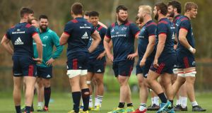The Munster team training at UL in Limerick this week. Photograph: James Crombie/Inpho