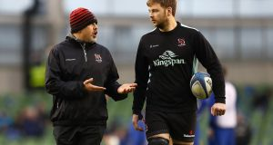 Ulster head coach Dan McFarland with Iain Henderson who returns to captain the team this Friday night. Photograph: Michael Steele/Getty Images