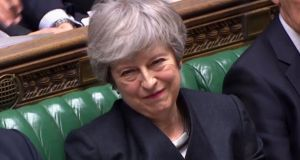 A video grab from footage broadcast by the UK Parliament's Parliamentary Recording Unit (PRU) shows Britain's Prime Minister Theresa May. Photograph: HO / various sources / AFP/Getty Images