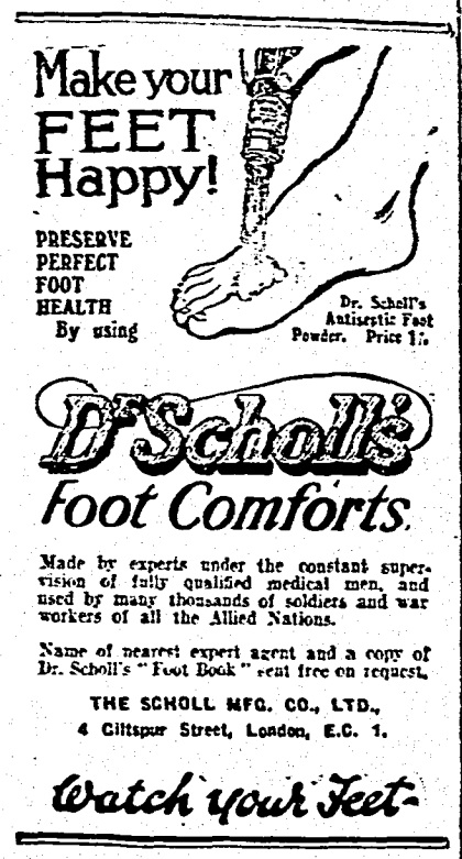 An advertisement for Dr Scholl's from The Irish Times, Wednesday, August 28th, 1918