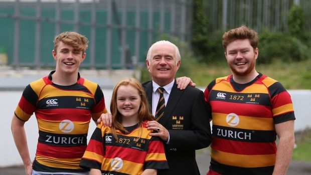 Lansdowne president Kieran Mulligan with his sons Rory and James and daughter Natasha.