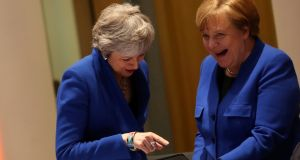 Britain's prime minister Theresa May and Germany's chancellor Angela Merkel: Brexiteers rail against Mrs May for accepting the extension but they also scent weakness on the EU side. Photograph: Kenzo Tribouillard