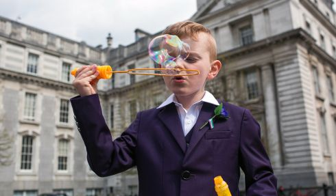 POLITICAL BUBBLE: Tom Foster (6), from Enniscorthy, Co Wexford, is seen at Government Buildings ahead of a fundraising appeal for cystic fibrosis. Photograph: James Forde/The Irish Times