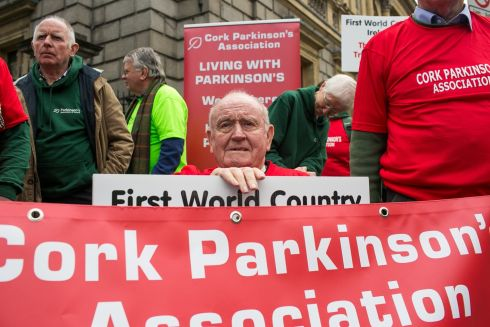 PARKINSON'S PROTEST: Joseph Gilleece, from Co Cork, is seen at a protest outside the Dáil to demand better funding for those with Parkinson's disease. Photograph: James Forde/The Irish Times