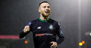 Jack Byrne: claimed  the Airtricity/SWAI Player of the Month award for March following his fine displays for league leaders Shamrock Rovers. Photograph. Ryan Byrne/Inpho