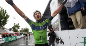 Luuc Bugter celebrates after winning the stage eight of the Rás Tailteann last year. Photograph: Bryan Keane/Inpho