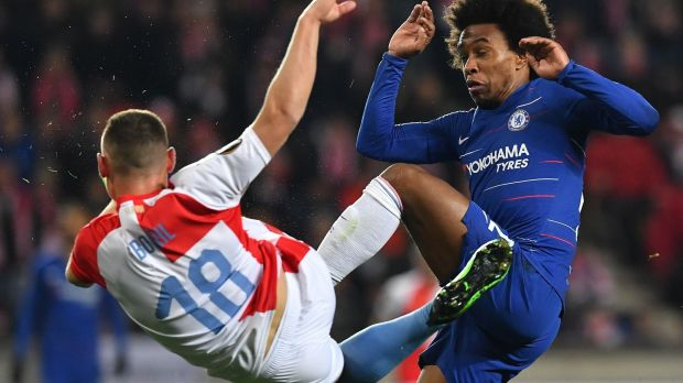 Willian challenges with Slavia Prague's Jan Boril during Chelsea's 1-0 win. Photograph: Joe Klamar/AFP/Getty