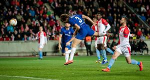 Marcos Alonso heads home Chelsea's late winner against Slavia Prague. Photograph: Thomas Eisenhuth/Bongarts/Getty