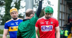 Cork's Séamus Harnedy is sent off against Tipp. Photograph: Morgan Treacy/Inpho