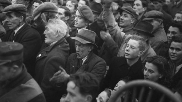 Voters at a rally during the 1948 general election. File photograph: Bert Hardy/Picture Post/Getty Images