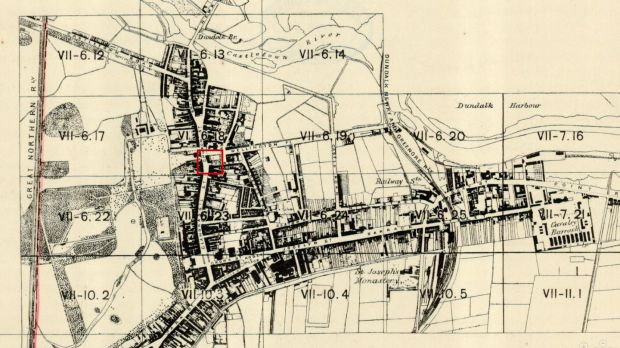 A map of Dundalk, showing the likely area of the fracas. Photograph: Ordnance Survey Ireland/UCD Library/Public domain