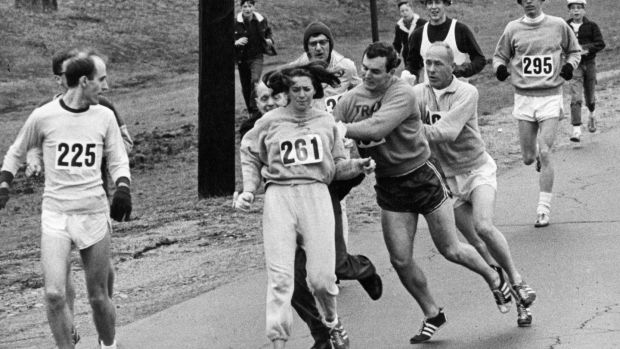 Race director Jock Semple tried to force Kathrine Switzer out of the Boston Marathon in 1967 when women were banned from running. File photograph: Paul Connell/The Boston Globe via Getty Images