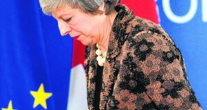 "Britain's prime minister Theresa May. A referendum driven by the slogan ""take back control"" has ended with her  waiting outside  a meeting of 27 European states deciding if the UK should be granted an extension or a crash-out. Photograph: Getty Images"
