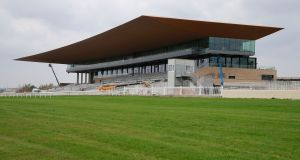 A view of the new stand at the Curragh Racecourse. The 10,500 square metre stand caters for up to 6,000 people inside its four levels while its surrounds can cope with over 10,000.  Photograph: Nick Bradshaw for The Irish Times