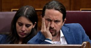 Podemos MPs Pablo Iglesias and partner Irene Montero: Podemos and its allies on the left have expressed frustration at how scandals have failed to prompt a full parliamentary investigation. Photograph: Oscar del Pozo/AFP/Getty