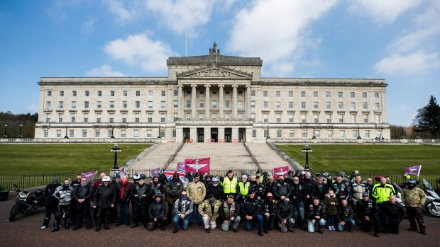 Motorcyclists at the Stormont buildings in Belfast take part in the Rolling Thunder ride protest to support of Soldier F, who is facing prosecution over Bloody Sunday. Photograph: Liam McBurney/PA Wire