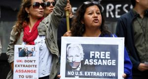 People in Sydney, Australia, call for the release of WikiLeaks founder Julian Assange who was arrested by British authorities on April 11st. Photograph: Peter Rae